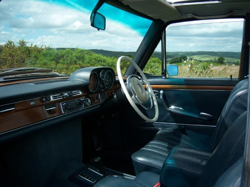 Classic restored Mercedes upholstery 6.3 interior view